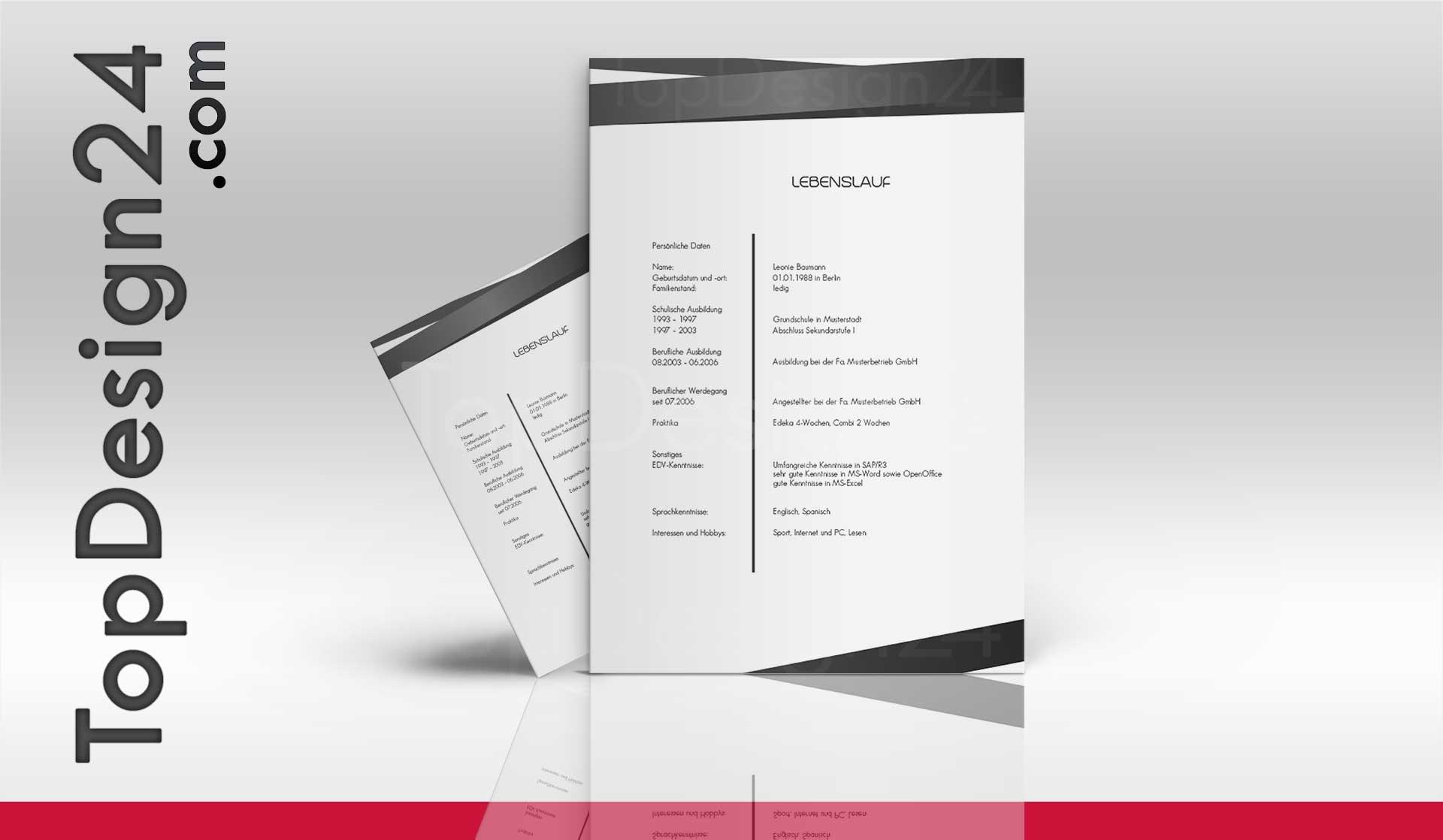 Bewerbung Design Vorlage - TopDesign24, Deckblatt, Leben.