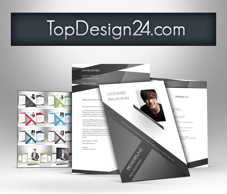 Bewerbung Design Vorlage - TopDesign24, Deckblatt, Leben..