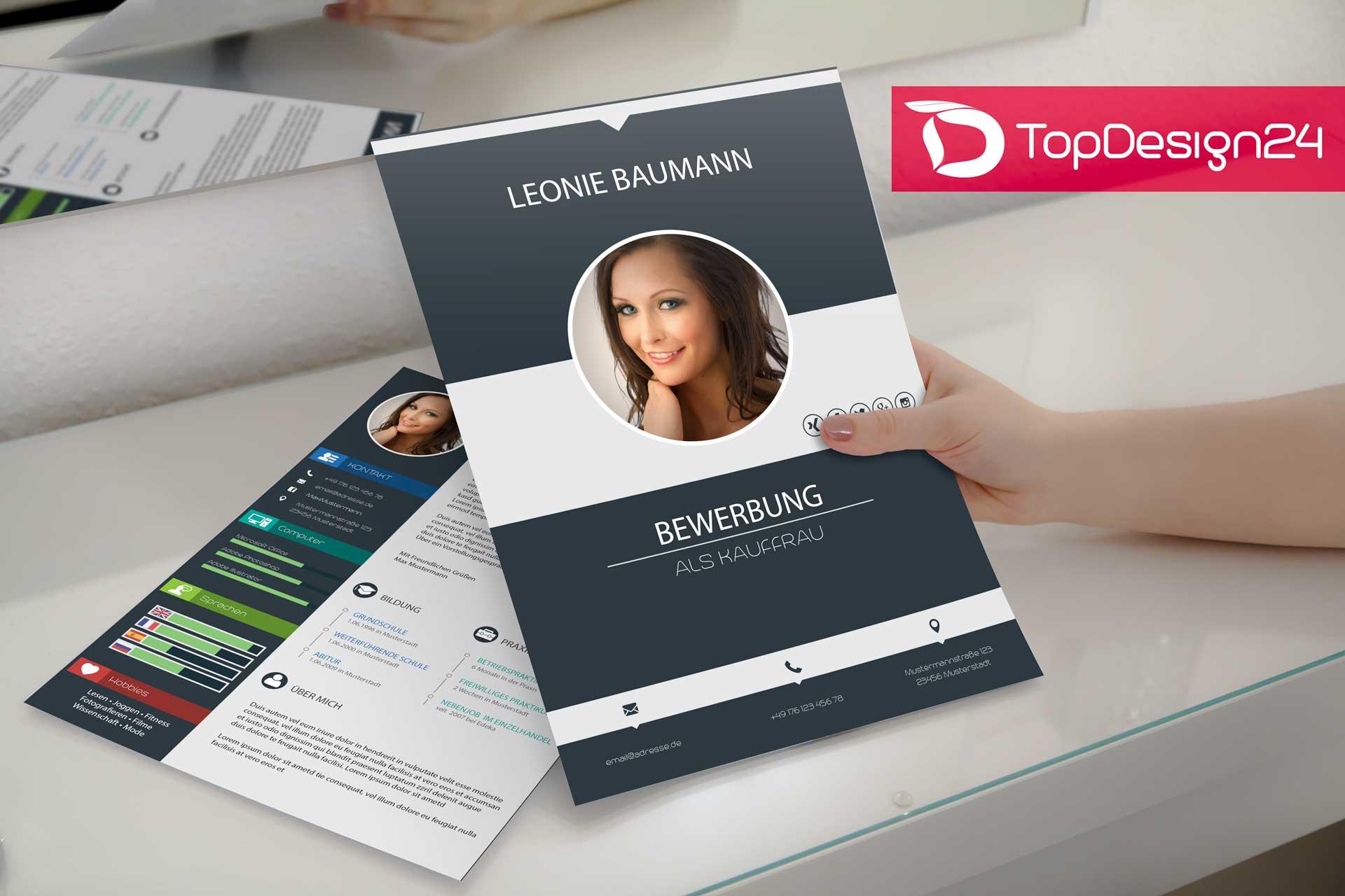 Design Bewerbung Kreativ Topdesign24 Deckblatt Lebens