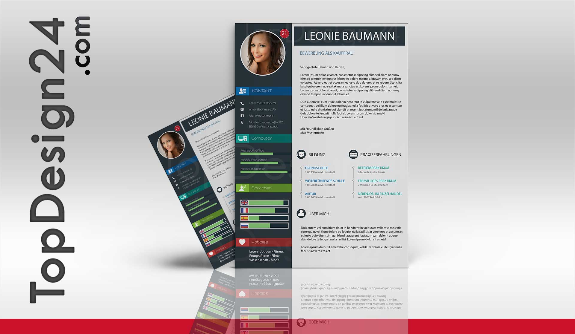 Design Bewerbung Kreativ Deckblatt Word Vorlage 2015