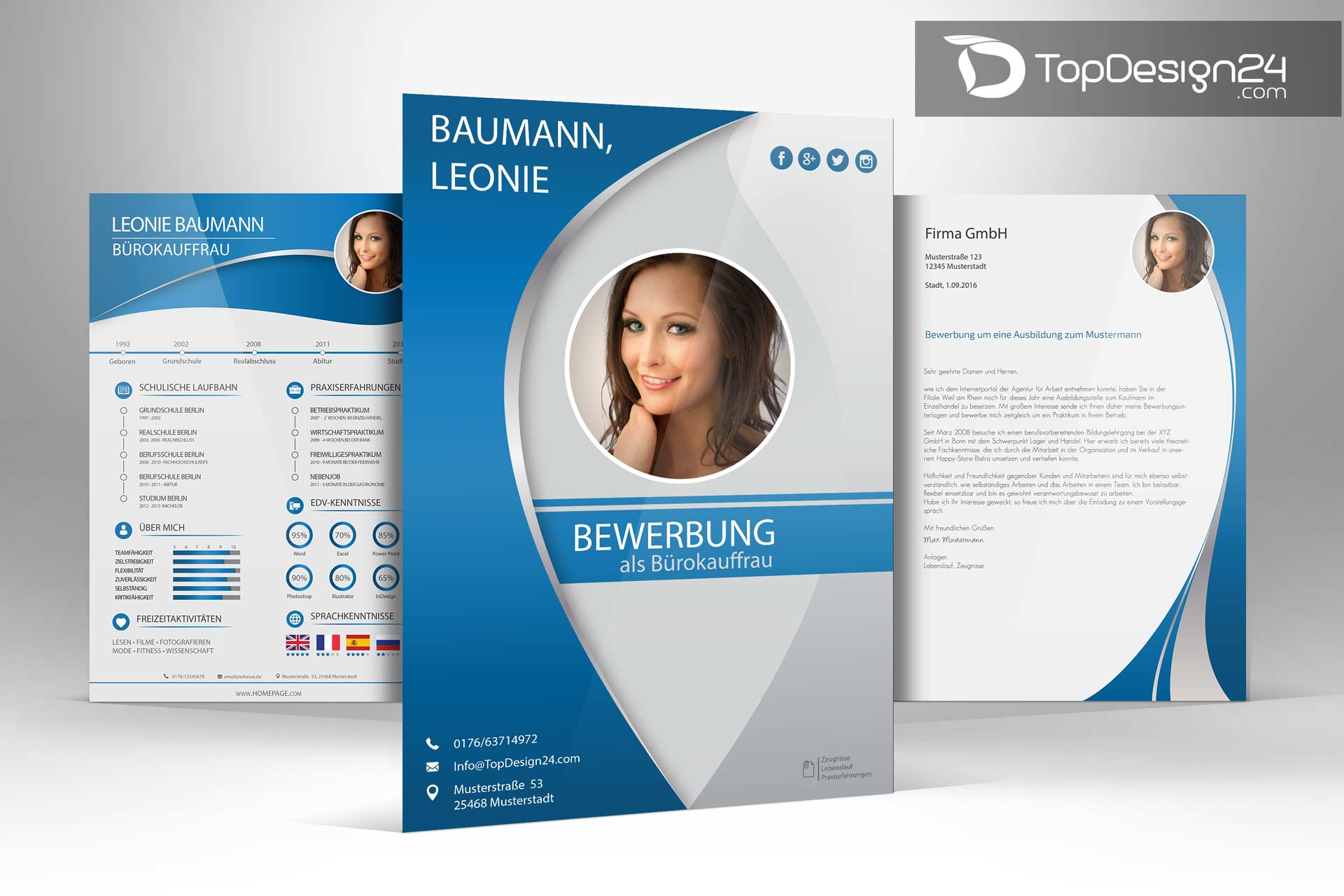 Bewerbung Deckblatt Kreativ Vorlagen Topdesign24