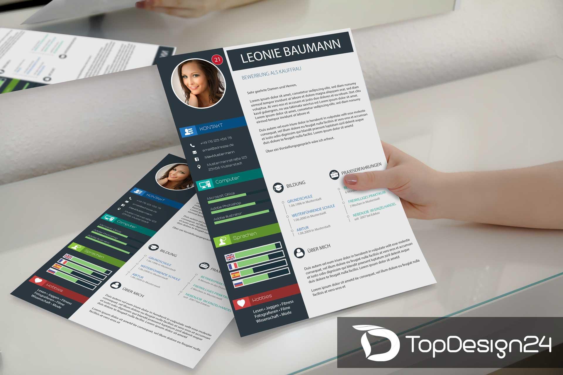 Bewerbung Deckblatt Modern Topdesign24 Lebenslauf