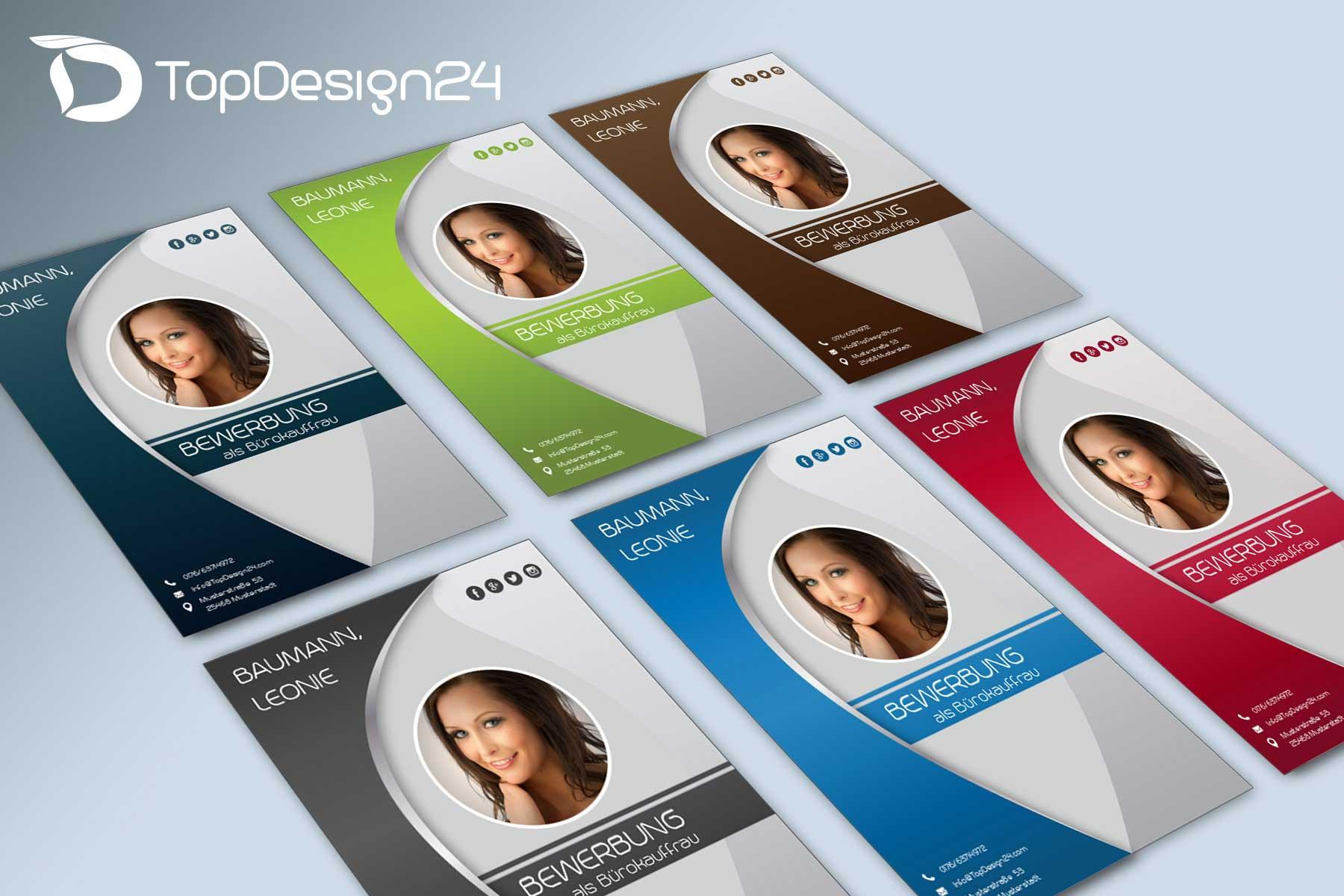 bewerbung deckblatt kreativ vorlagen topdesign24. Black Bedroom Furniture Sets. Home Design Ideas