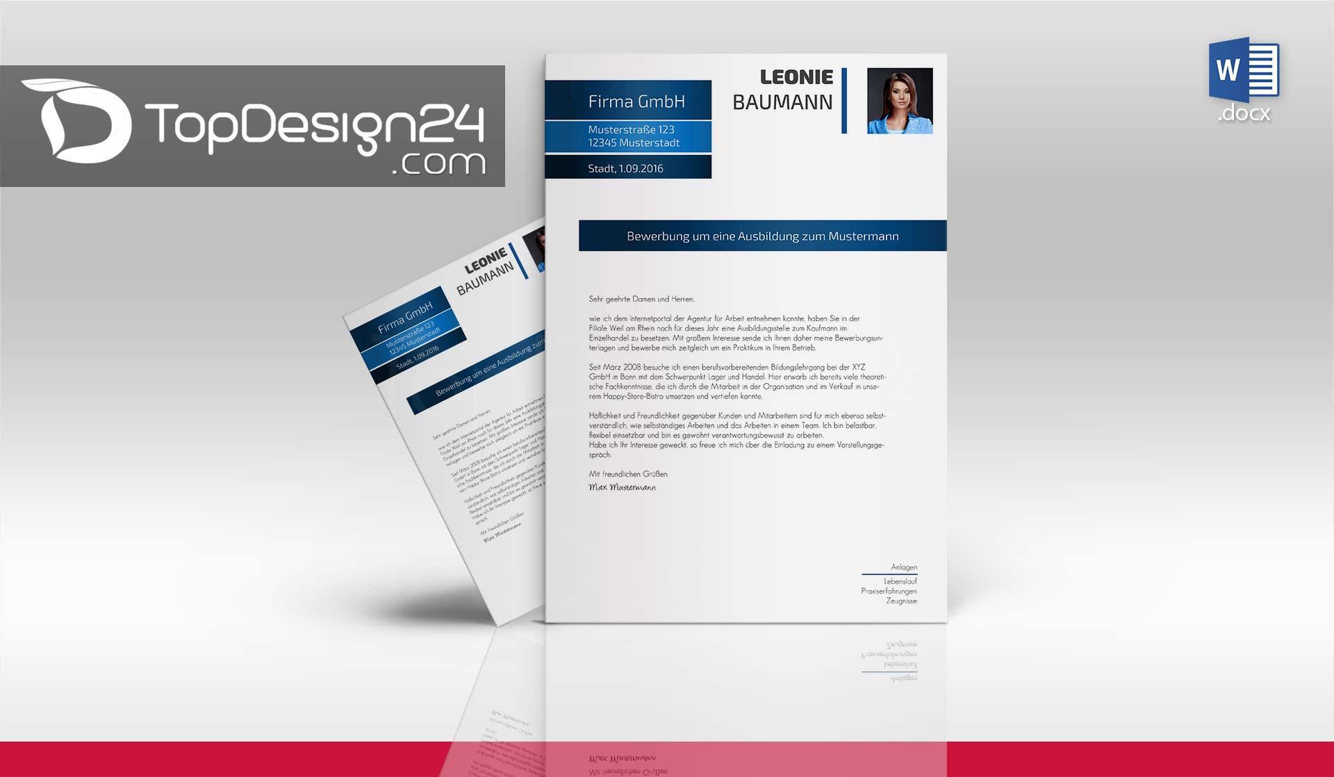 Bewerbung Design Word Topdesign24 Bewerbungsvorlagen: create a blueprint