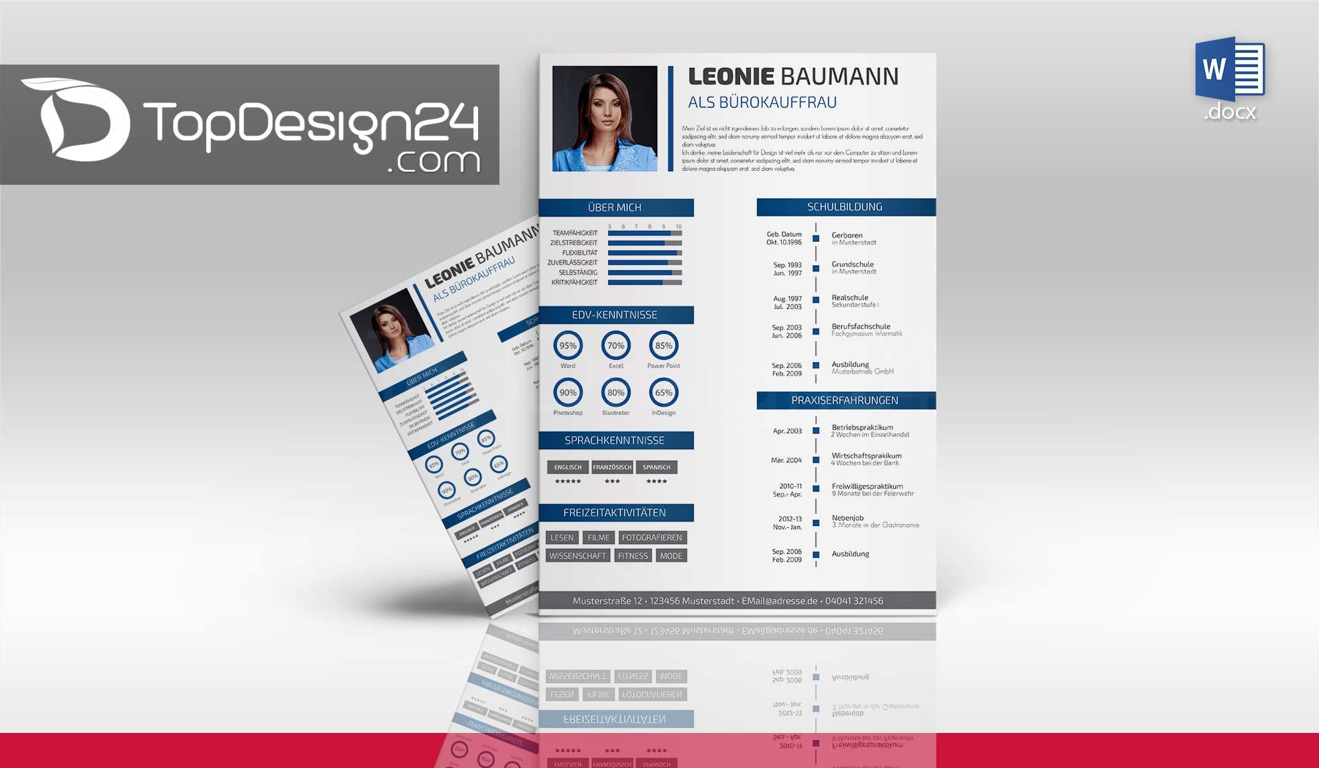 Bewerbung design word topdesign24 bewerbungsvorlagen Create a blueprint online
