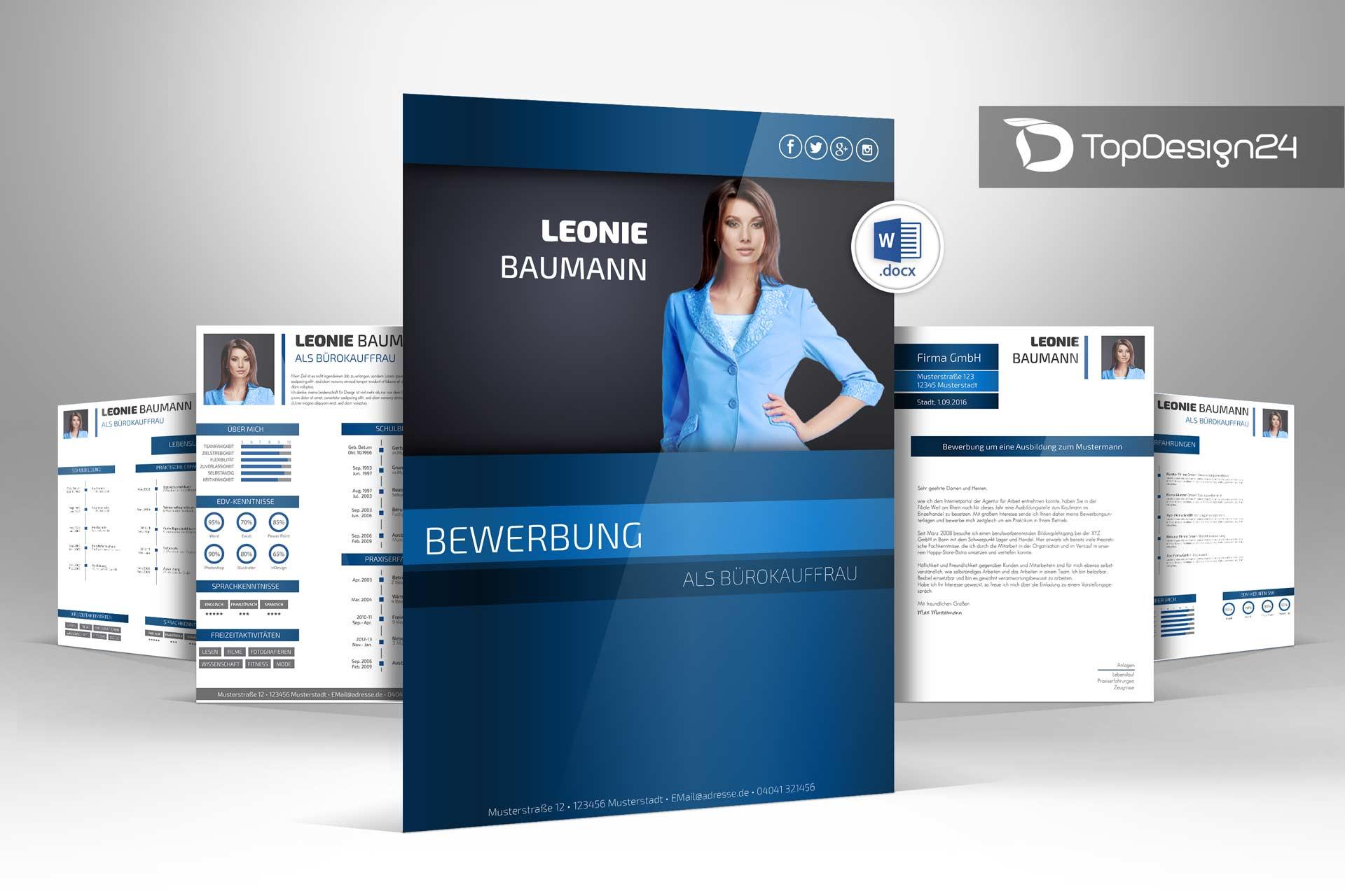 Bewerbung Design Word Topdesign24 Bewerbungsvorlagen