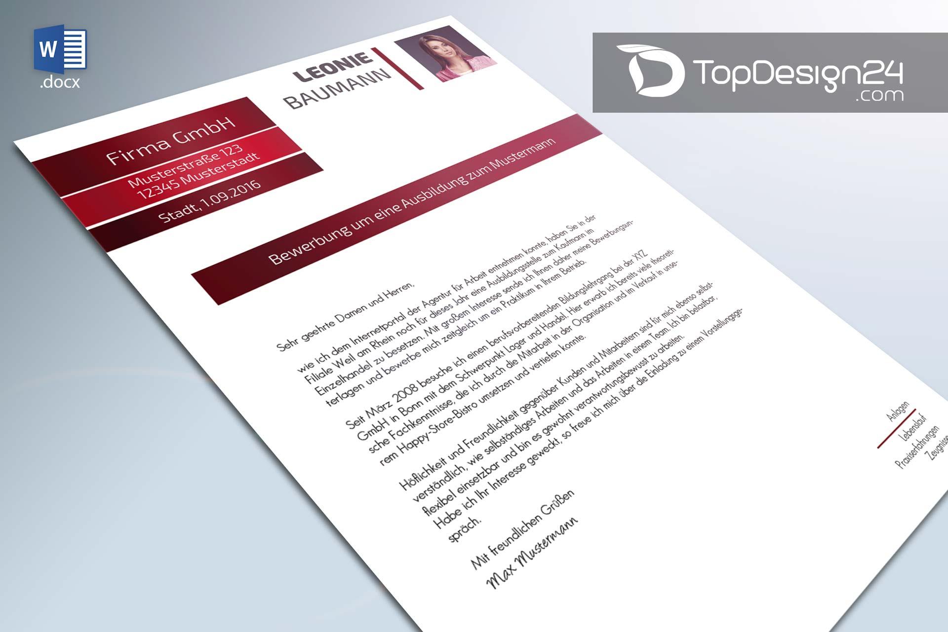 Bewerbungsanschreiben Beispiel Topdesign24 Vorlagen
