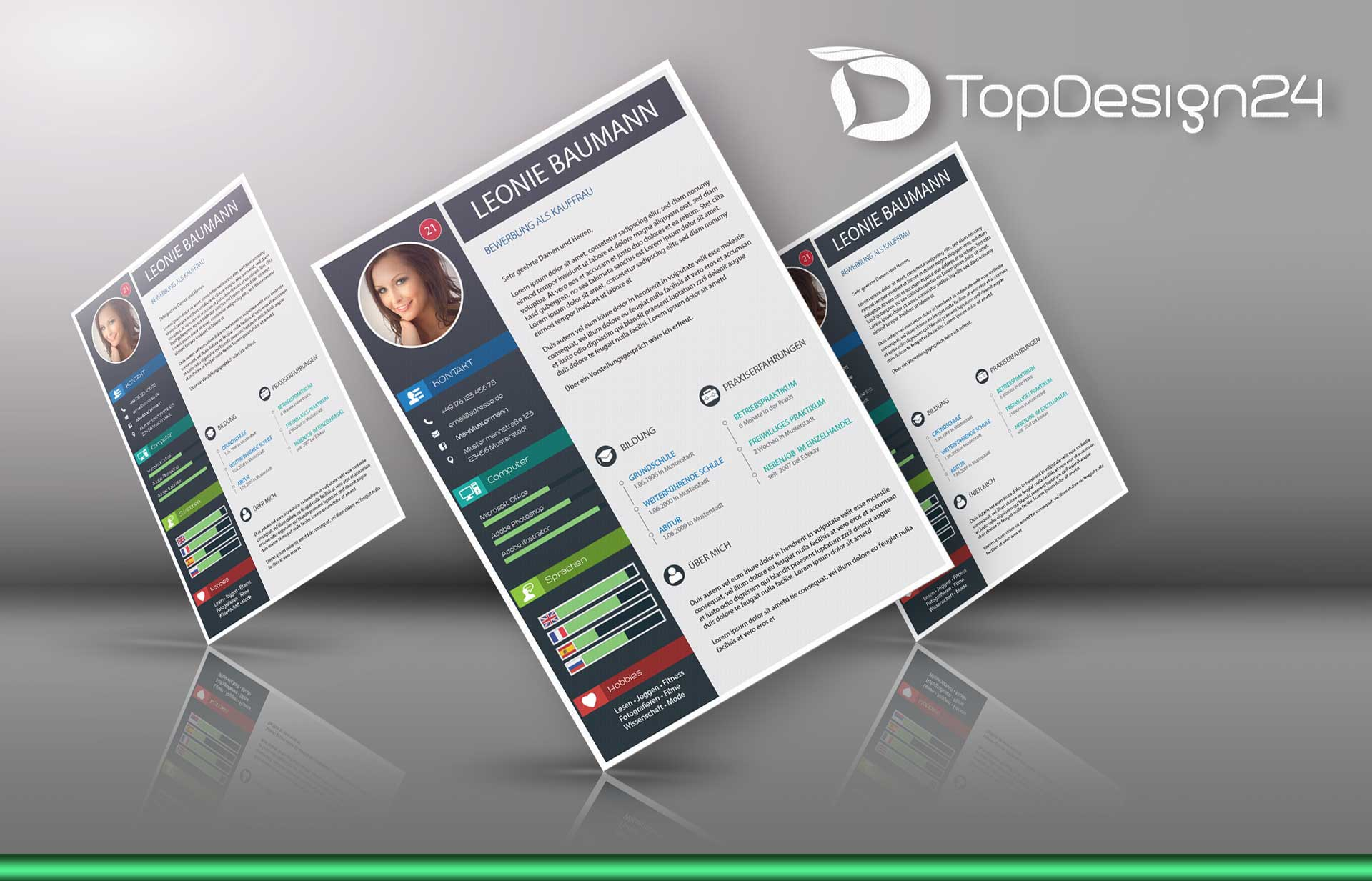 Bewerbung Servicekraft -TopDesign24- Vorlagen nach Wahl
