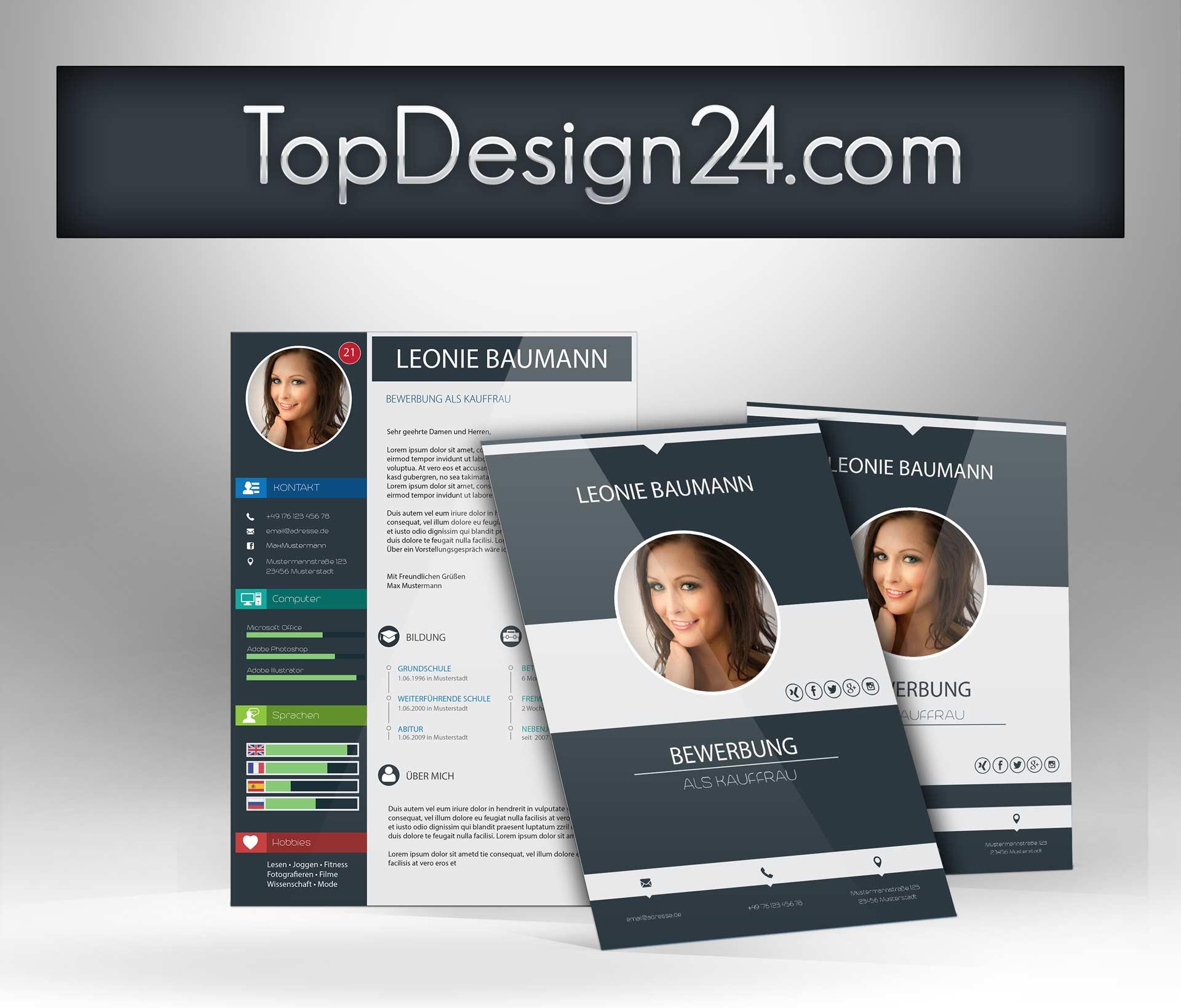 Moderne Bewerbung - TopDesign24- ideales Deckblatt