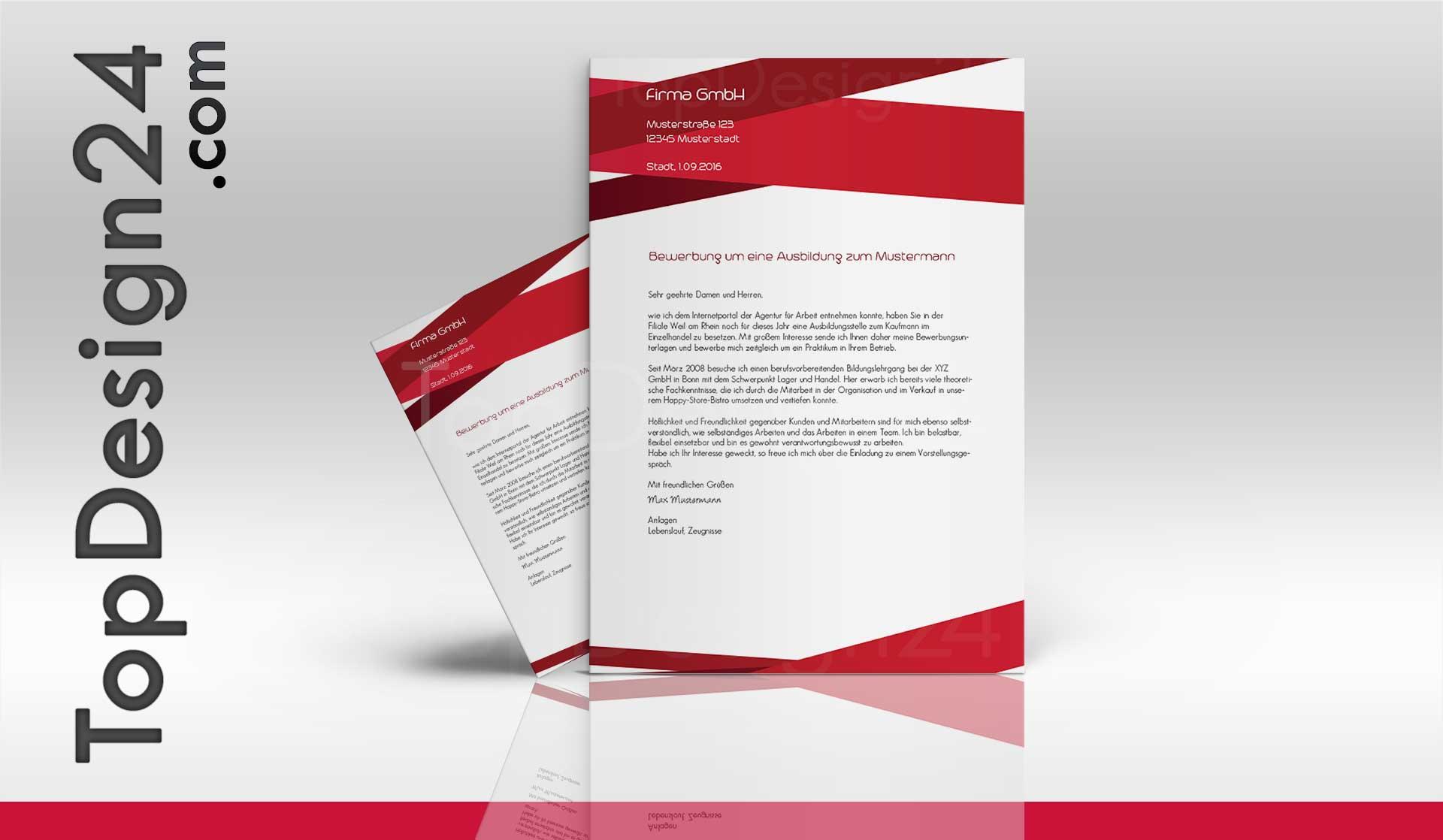 Vorlage Deckblatt Bewerbung Topdesign24 Topbewerbung