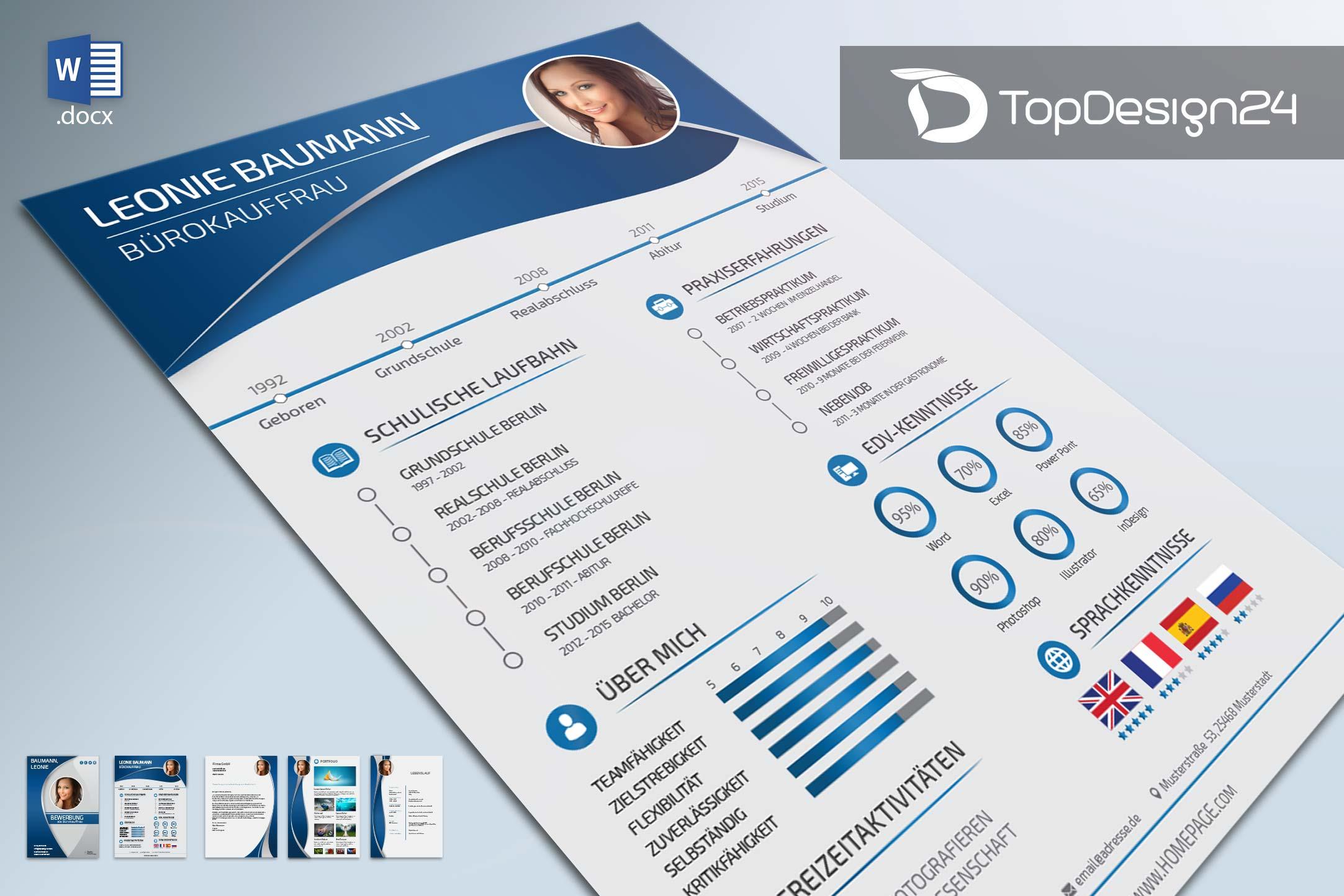 Bewerbung Designvorlagen - TopDesign24 Bewerbungsvorlagen