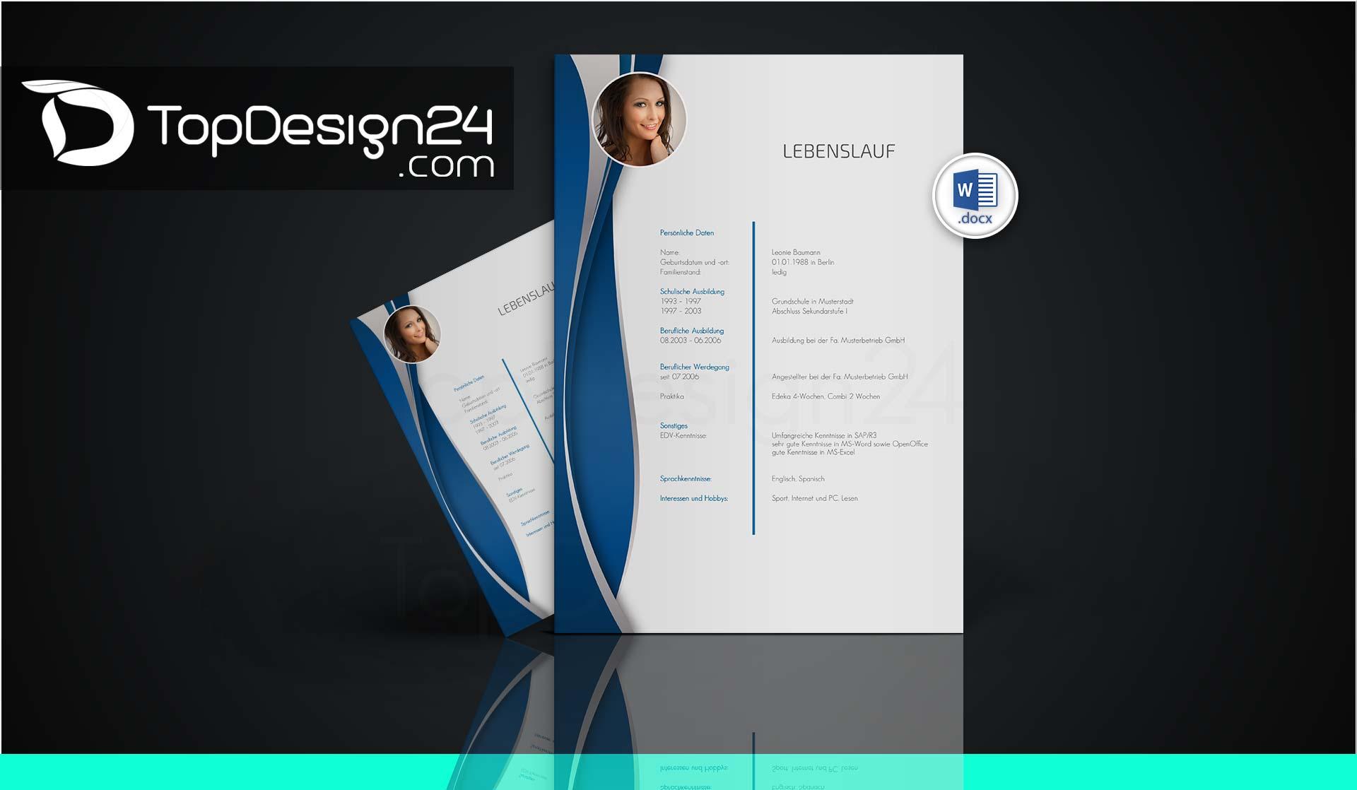 bewerbung designvorlagen topdesign24 bewerbungsvorlagen. Black Bedroom Furniture Sets. Home Design Ideas