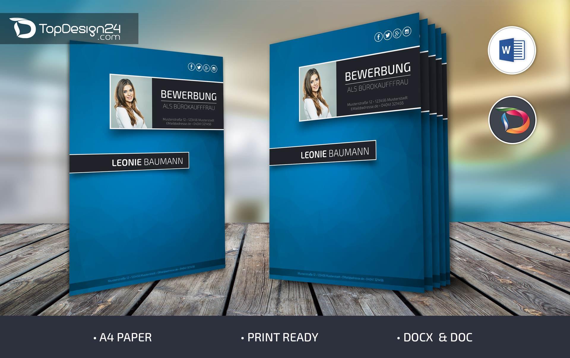 Bewerbung Deckblatt 2016 Topdesign24 Moderne Bewerbungsvorlagen