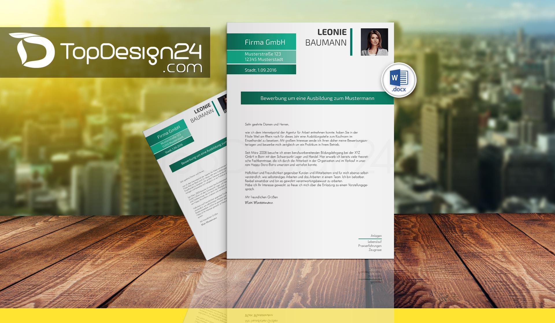Layout Deckblatt Bewerbung - TopDesign24 Bewerbungsvorlagen