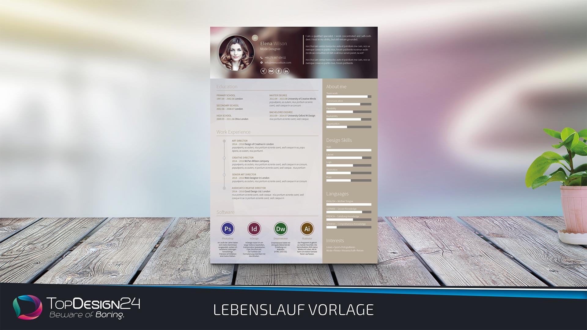 Topdesign24 Lebenslauf Design 2017 Kostenlos Downloaden