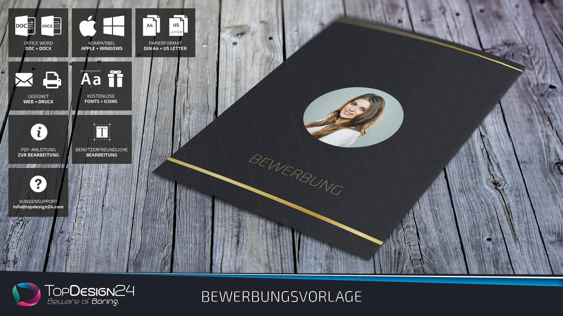 kreative bewerbung deckblatt indesign 2017 topdesign24. Black Bedroom Furniture Sets. Home Design Ideas