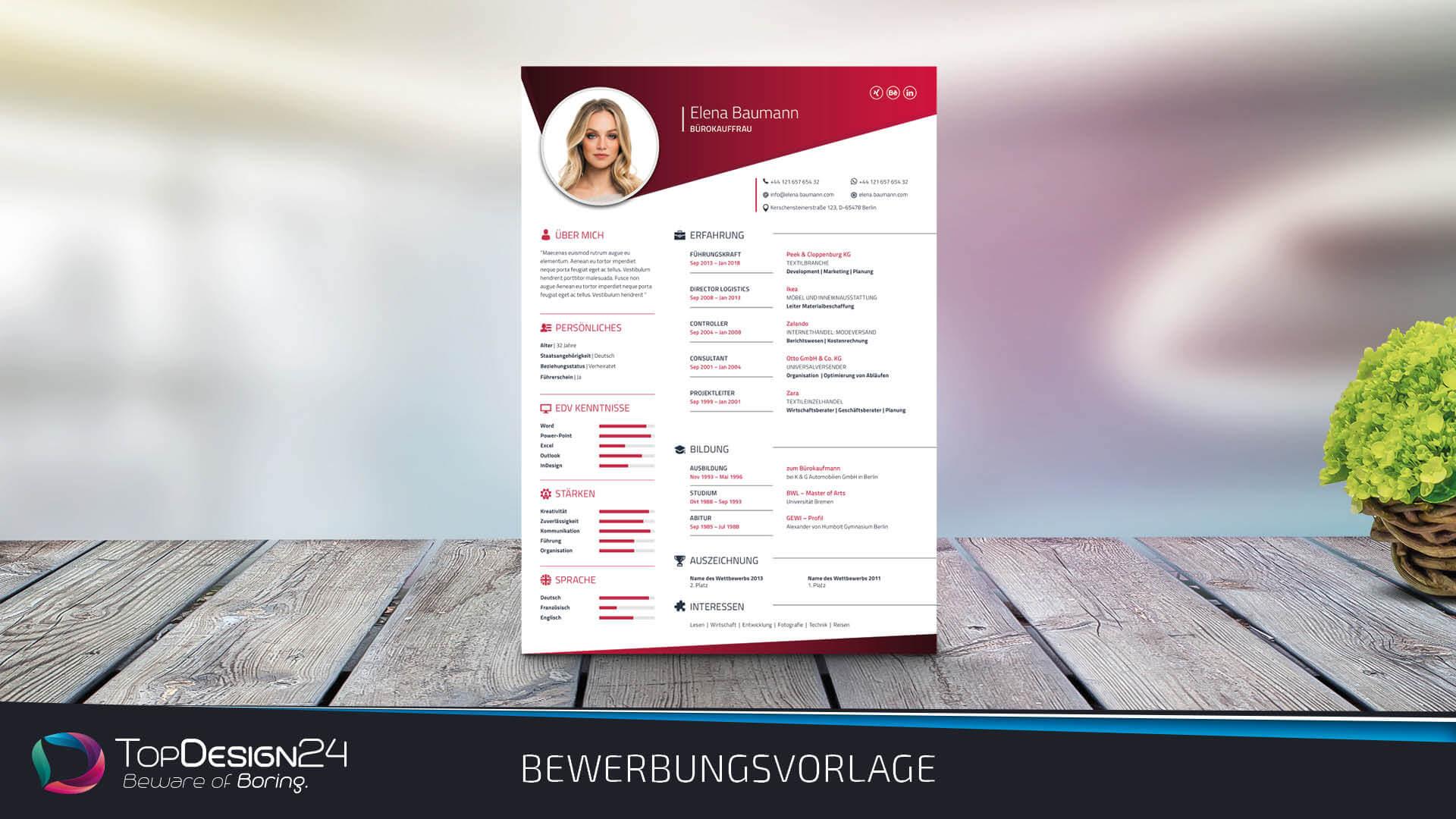 Lebenslauf Vorlage 2018 - TopDesign24 Bewerbungsvorlage Word 2018