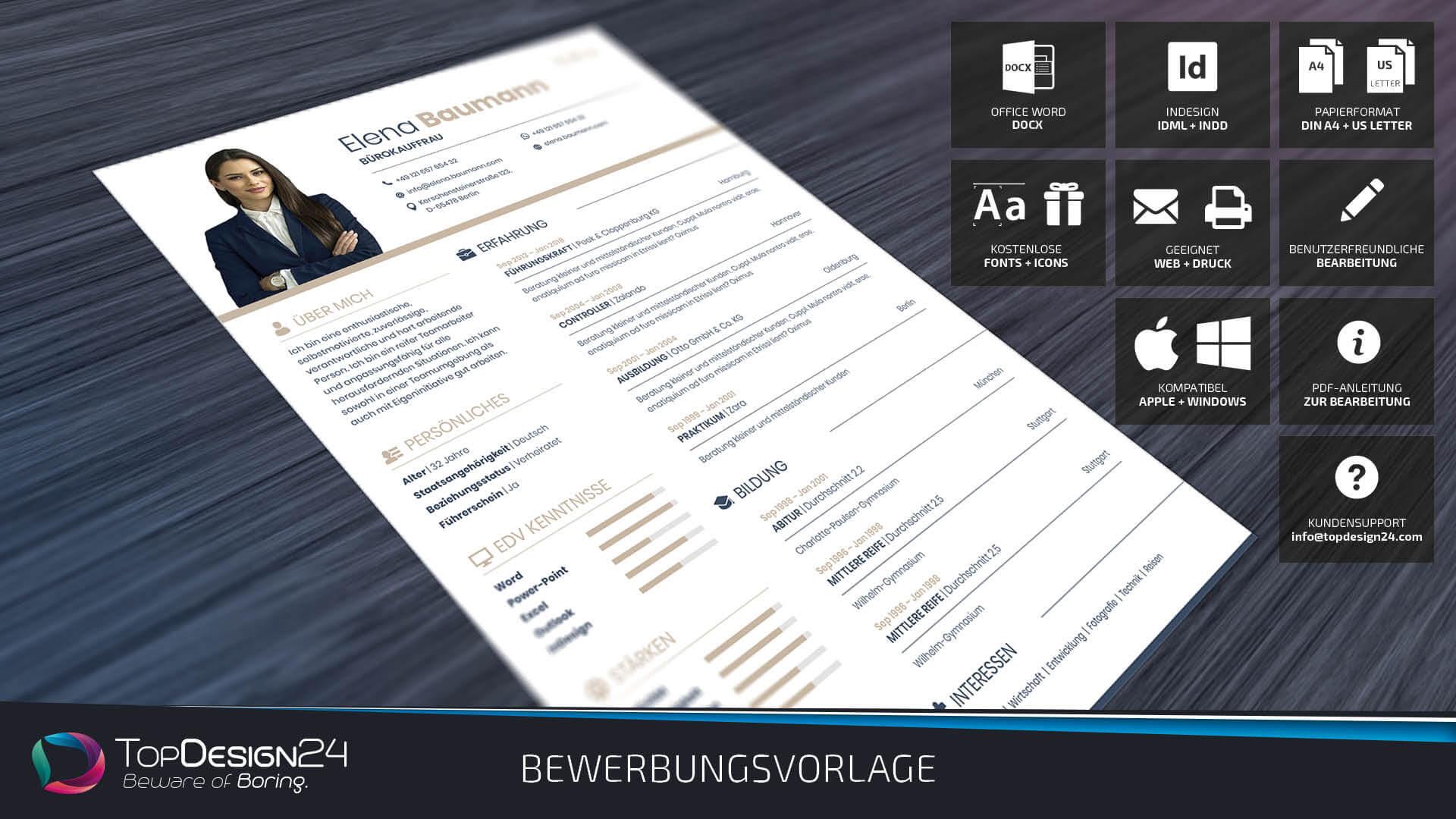 Bewerbungsvorlage 2018 Topdesign24 Bewerbungsvorlage Word 2018